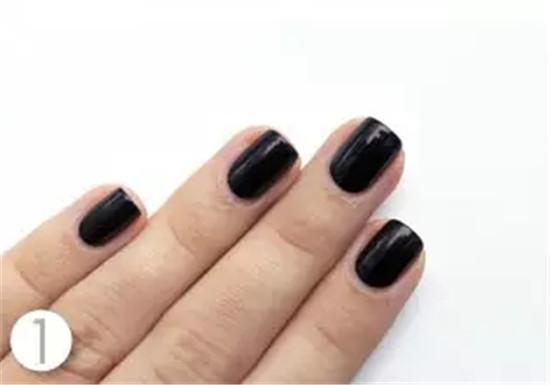 Shiny Dark Nail Steps Tutorial