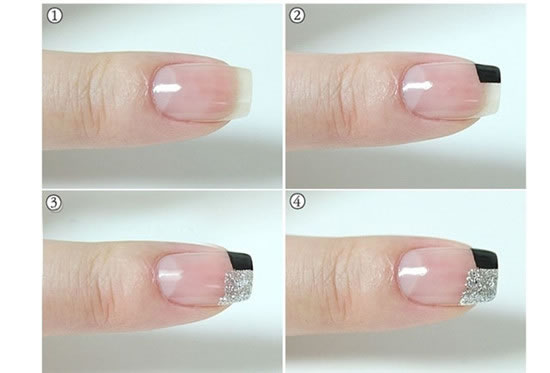 Black and white French manicure tutorial step picture