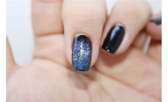 Self-learning starry manicure tutorial step diagram