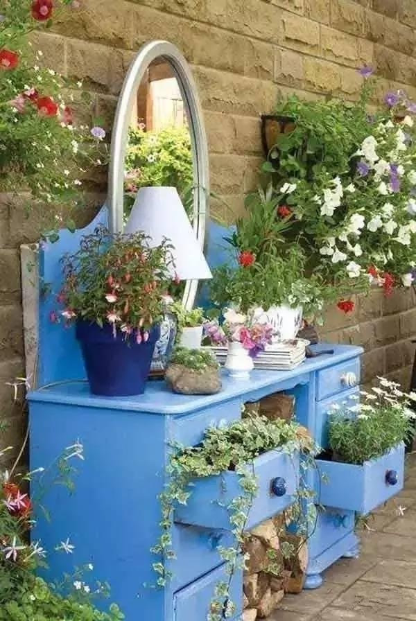 When abandoned furniture is made into a garden