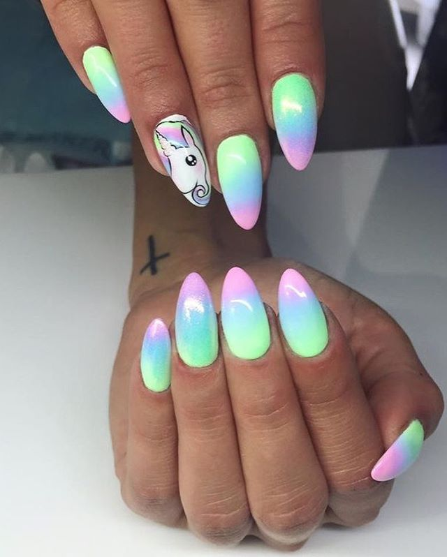 36 Wonderful Ombre Nail Art Design Ideas nails;atlnails;atlantanails;alpharettanails ;atlnailtech;longnails;coffinnails;marblenails ;ombrenails ;longnails;shiningclaws