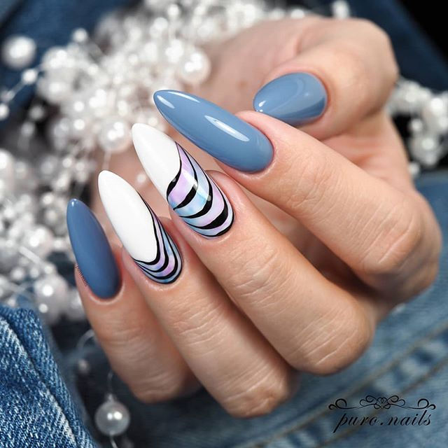 37 SUMMER CAN ALSO BE RECOMMENDED WITH COLL-TONED NAIL STYLES nails;summernails;summernails2019;long nails;nail style;nail designs;nail addict ;nail design ideas;natural nails;blue nails